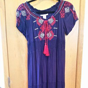 Blue Maxi Dress w/Red & White Detail Size Medium
